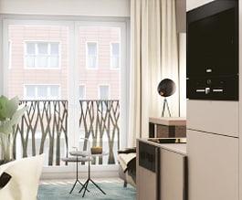 kleines studiomuc apartment mit wohnausstattung und fensterfassade